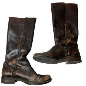 J Crew moto riding boots 6 distressed leather